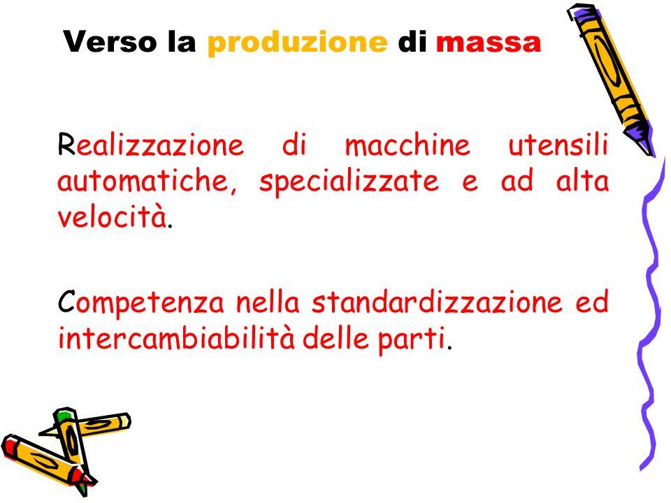 Verso la produzione di massa Realizzazione di macchine utensili automatiche, specializzate e ad alta velocità. Competenza nella standardizzazione ed i