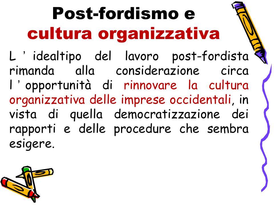 Post-fordismo e cultura organizzativa Lidealtipo del lavoro post-fordista rimanda alla considerazione circa lopportunità di rinnovare la cultura organ