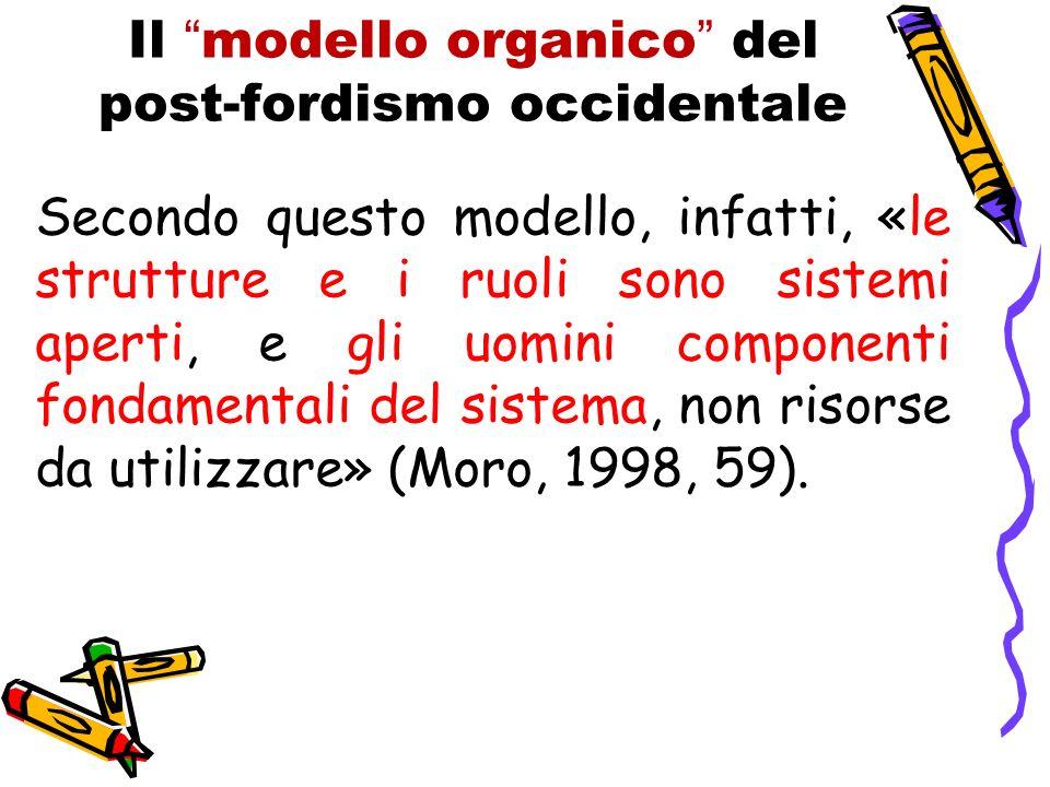 Il modello organico del post-fordismo occidentale Secondo questo modello, infatti, «le strutture e i ruoli sono sistemi aperti, e gli uomini componenti fondamentali del sistema, non risorse da utilizzare» (Moro, 1998, 59).