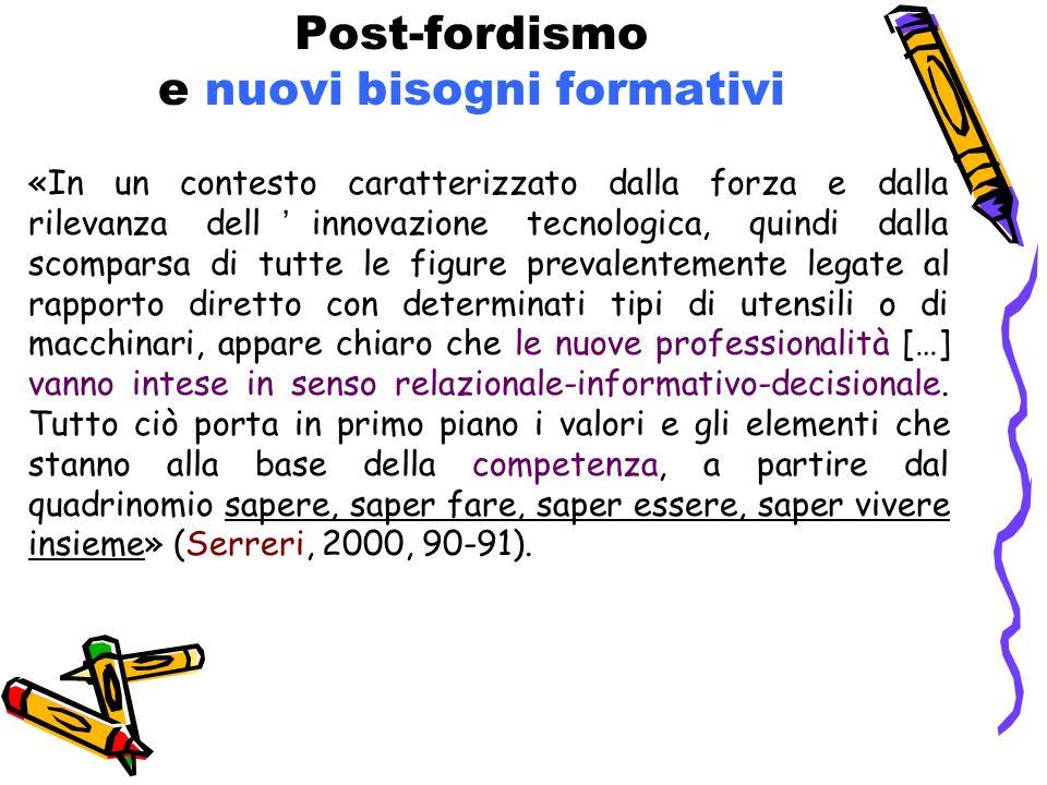 Post-fordismo e nuovi bisogni formativi «In un contesto caratterizzato dalla forza e dalla rilevanza dellinnovazione tecnologica, quindi dalla scompar