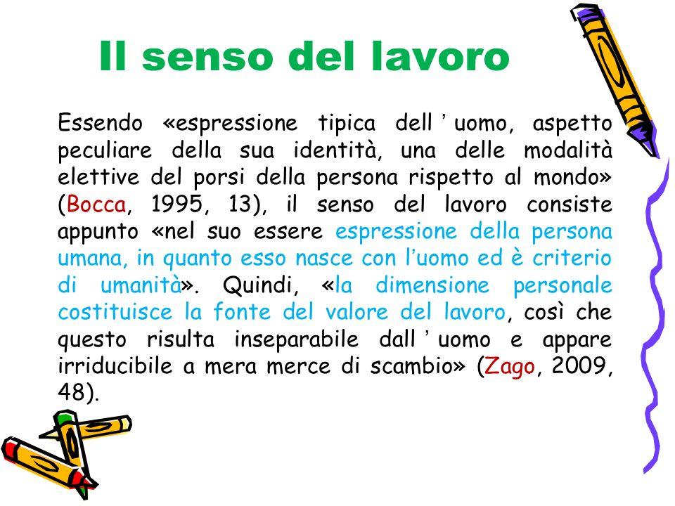 Il senso del lavoro Essendo «espressione tipica delluomo, aspetto peculiare della sua identità, una delle modalità elettive del porsi della persona ri