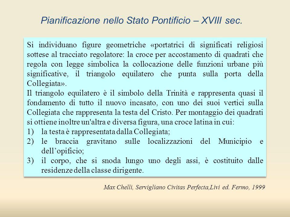 Max Chelli, Servigliano Civitas Perfecta,Livi ed. Fermo, 1999 Si individuano figure geometriche «portatrici di significati religiosi sottese al tracci