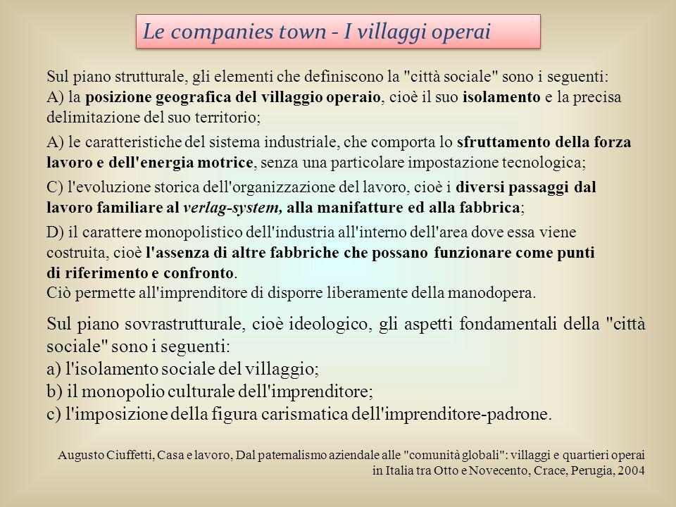 Le companies town - I villaggi operai Sul piano strutturale, gli elementi che definiscono la