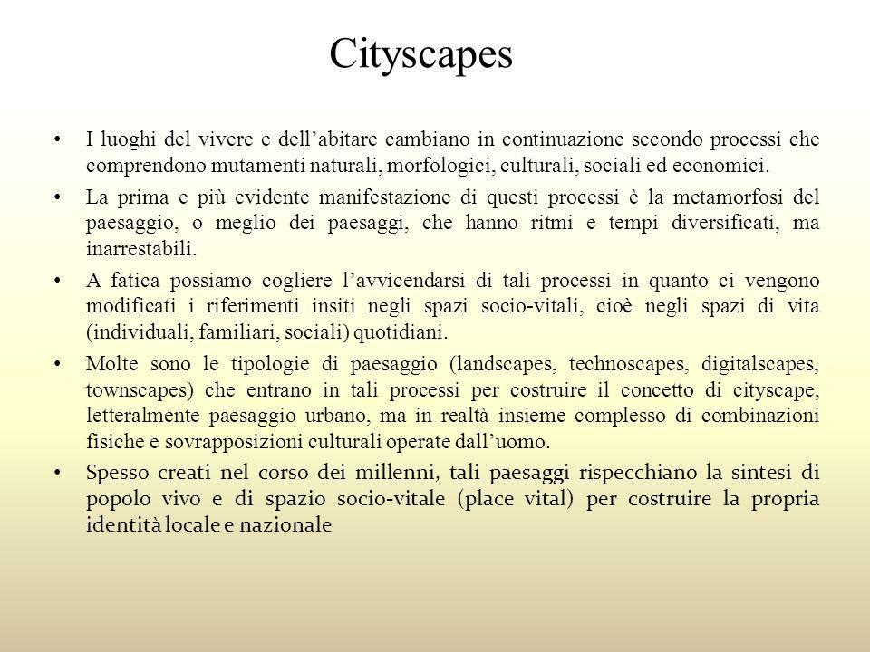 Cityscapes I luoghi del vivere e dellabitare cambiano in continuazione secondo processi che comprendono mutamenti naturali, morfologici, culturali, so