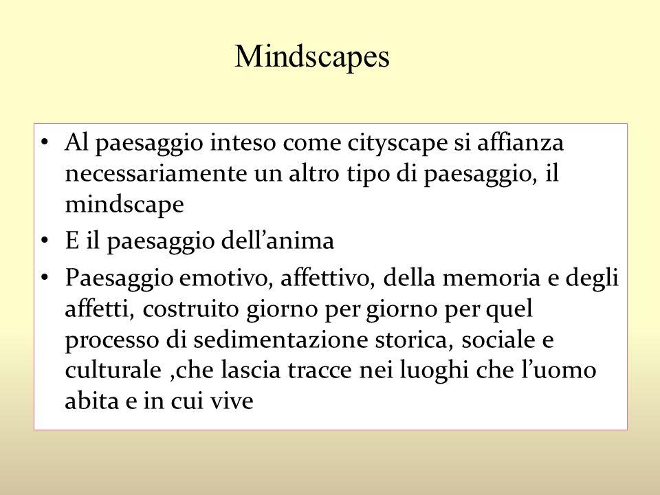 Mindscapes Al paesaggio inteso come cityscape si affianza necessariamente un altro tipo di paesaggio, il mindscape E il paesaggio dellanima Paesaggio
