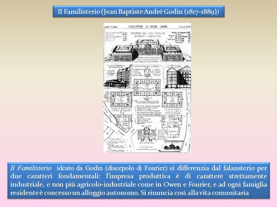 Il Familisterio (Jean Baptiste André Godin (1817-1889) ) Il Familisterio ideato da Godin (discepolo di Fourier) si differenzia dal falansterio per due