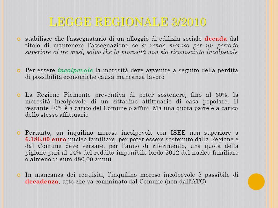 LEGGE REGIONALE 3/2010 stabilisce che lassegnatario di un alloggio di edilizia sociale decada dal titolo di mantenere lassegnazione se si rende moroso