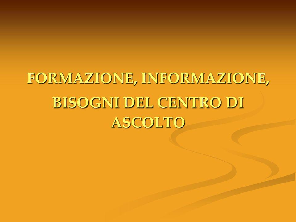 FORMAZIONE, INFORMAZIONE, BISOGNI DEL CENTRO DI ASCOLTO
