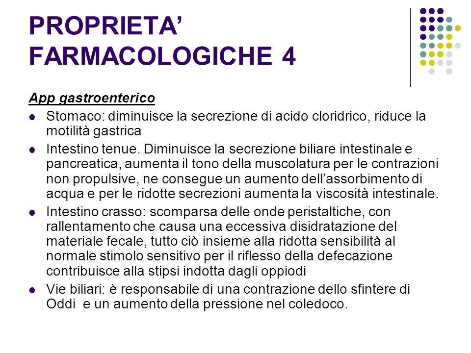 PROPRIETA FARMACOLOGICHE 4 App gastroenterico Stomaco: diminuisce la secrezione di acido cloridrico, riduce la motilità gastrica Intestino tenue. Dimi