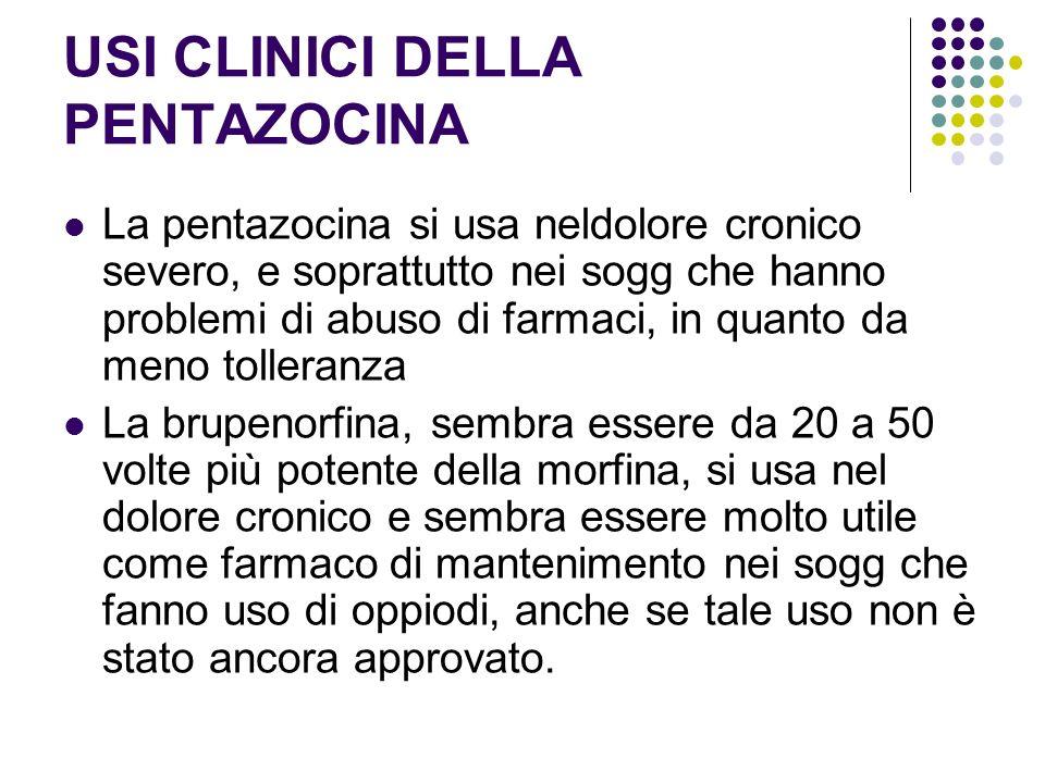 USI CLINICI DELLA PENTAZOCINA La pentazocina si usa neldolore cronico severo, e soprattutto nei sogg che hanno problemi di abuso di farmaci, in quanto