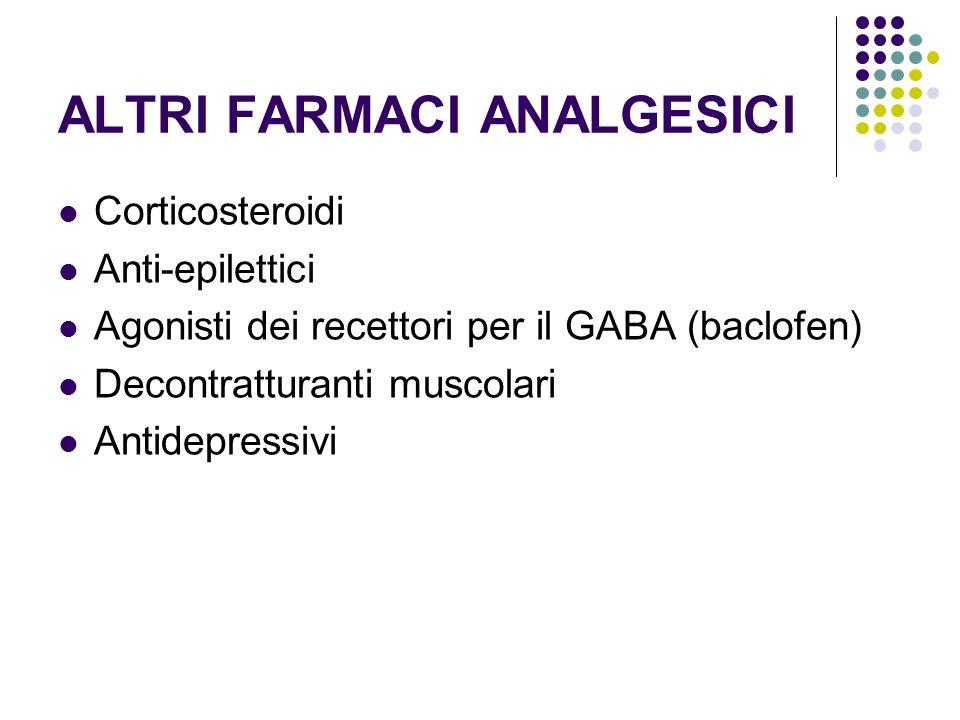 ALTRI FARMACI ANALGESICI Corticosteroidi Anti-epilettici Agonisti dei recettori per il GABA (baclofen) Decontratturanti muscolari Antidepressivi
