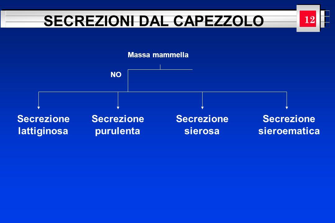 YOUR LOGO HERE Massa mammella NO SECREZIONI DAL CAPEZZOLO Secrezione lattiginosa Secrezione purulenta Secrezione sierosa Secrezione sieroematica 12