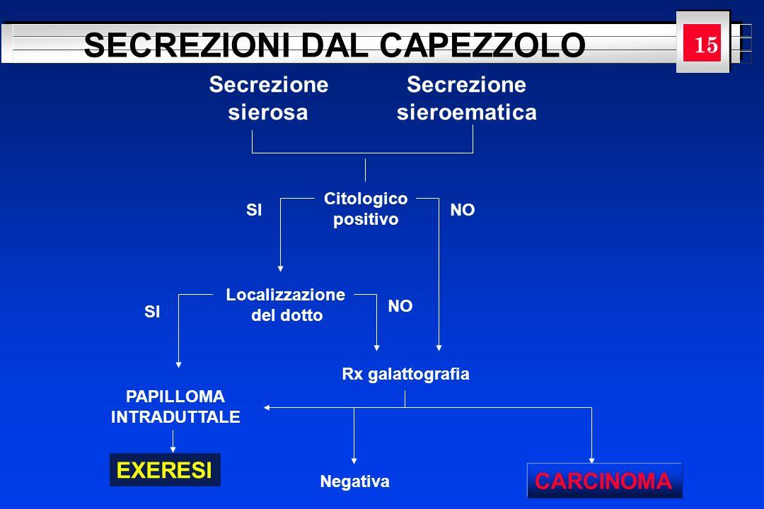 YOUR LOGO HERE SECREZIONI DAL CAPEZZOLO Citologico positivo Secrezione sierosa Secrezione sieroematica Localizzazione del dotto SI NO PAPILLOMA INTRAD