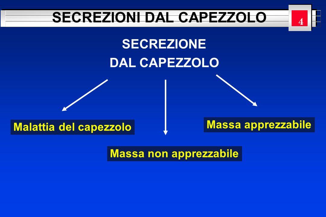 YOUR LOGO HERE SECREZIONE DAL CAPEZZOLO SECREZIONI DAL CAPEZZOLO Malattia del capezzolo Massa non apprezzabile Massa apprezzabile 4