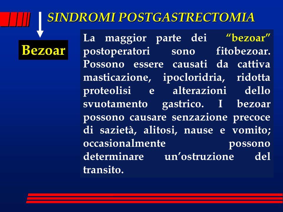 SINDROMI POSTGASTRECTOMIA Bezoar La maggior parte dei bezoar postoperatori sono fitobezoar. Possono essere causati da cattiva masticazione, ipocloridr