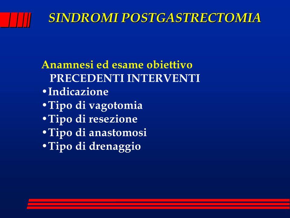 Anamnesi ed esame obiettivo PRECEDENTI INTERVENTI Indicazione Tipo di vagotomia Tipo di resezione Tipo di anastomosi Tipo di drenaggio