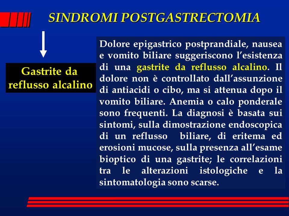 SINDROMI POSTGASTRECTOMIA Gastrite da reflusso alcalino Dolore epigastrico postprandiale, nausea e vomito biliare suggeriscono lesistenza di una gastr