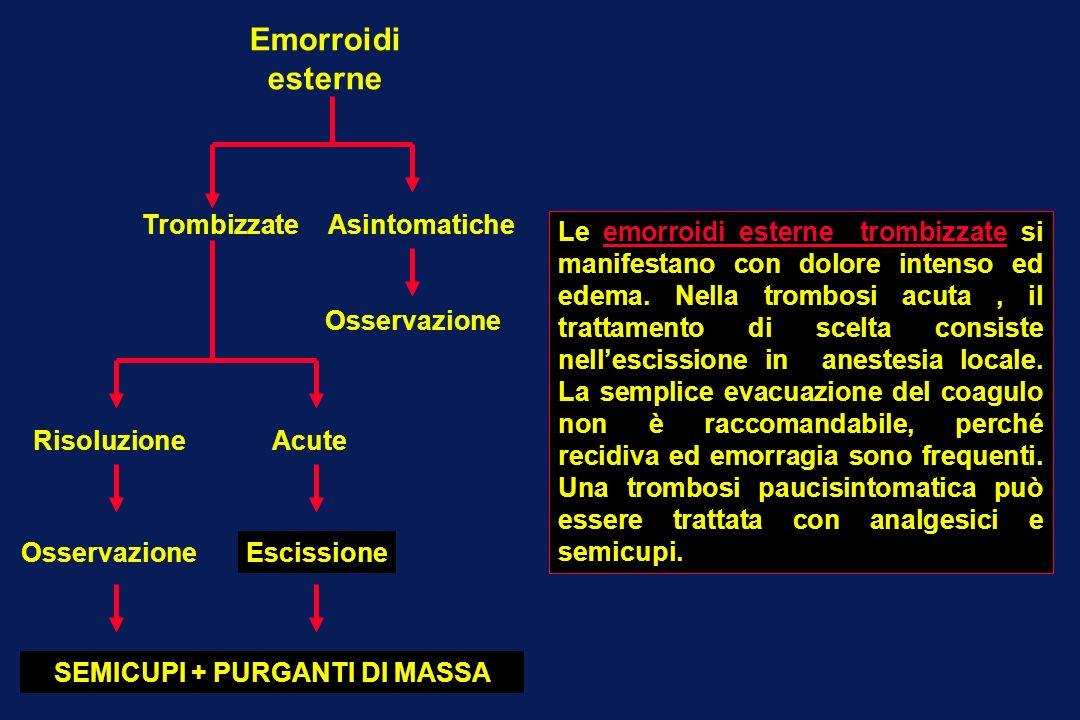 Emorroidi esterne TrombizzateAsintomatiche RisoluzioneAcute EscissioneOsservazione SEMICUPI + PURGANTI DI MASSA Le emorroidi esterne trombizzate si ma