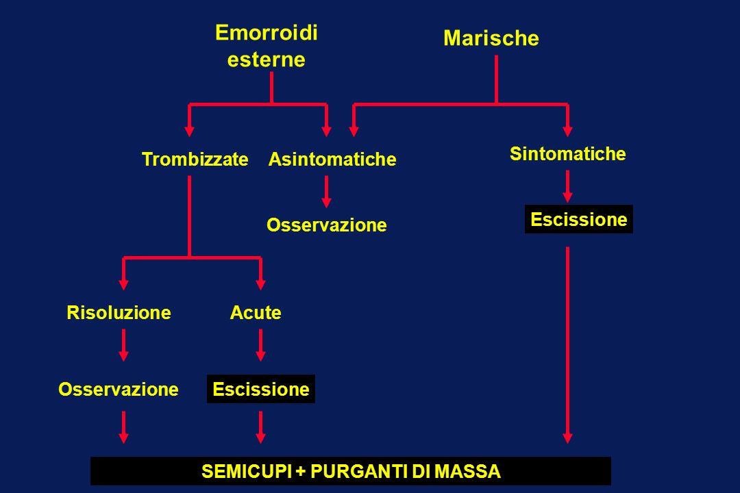 Emorroidi esterne Marische TrombizzateAsintomatiche Sintomatiche Osservazione Escissione RisoluzioneAcute EscissioneOsservazione SEMICUPI + PURGANTI D