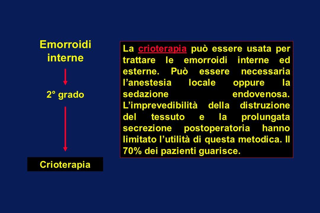 Emorroidi interne 2° grado Crioterapia La crioterapia può essere usata per trattare le emorroidi interne ed esterne. Può essere necessaria lanestesia