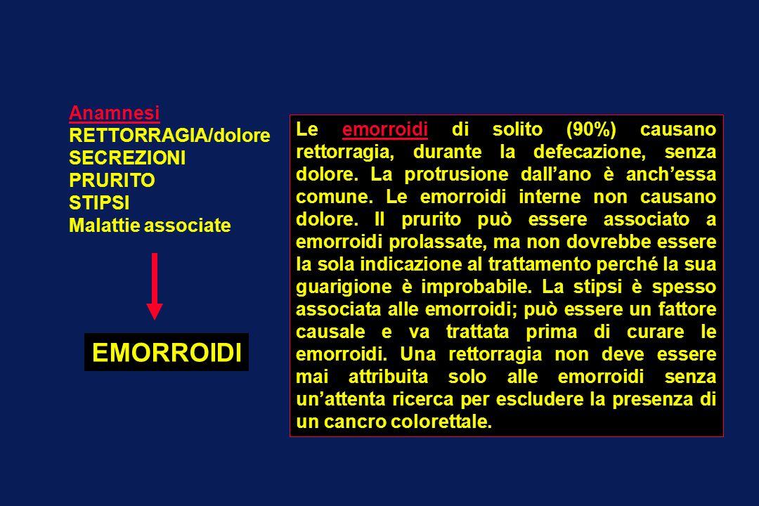 Anamnesi RETTORRAGIA/dolore SECREZIONI PRURITO STIPSI Malattie associate EMORROIDI Le emorroidi di solito (90%) causano rettorragia, durante la defeca