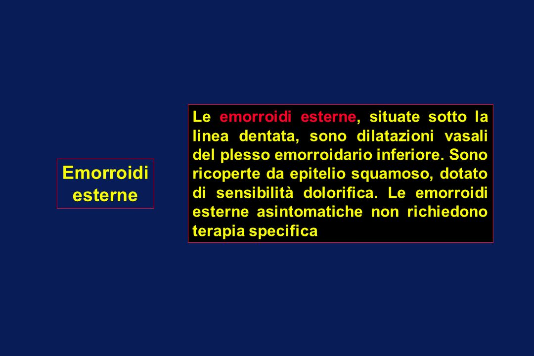 Emorroidi esterne TrombizzateAsintomatiche RisoluzioneAcute EscissioneOsservazione SEMICUPI + PURGANTI DI MASSA Le emorroidi esterne trombizzate si manifestano con dolore intenso ed edema.