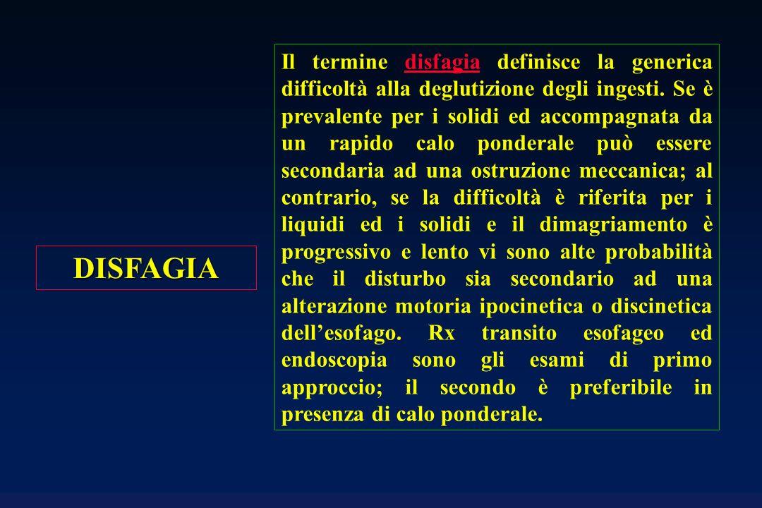 DISFAGIA Il termine disfagia definisce la generica difficoltà alla deglutizione degli ingesti. Se è prevalente per i solidi ed accompagnata da un rapi