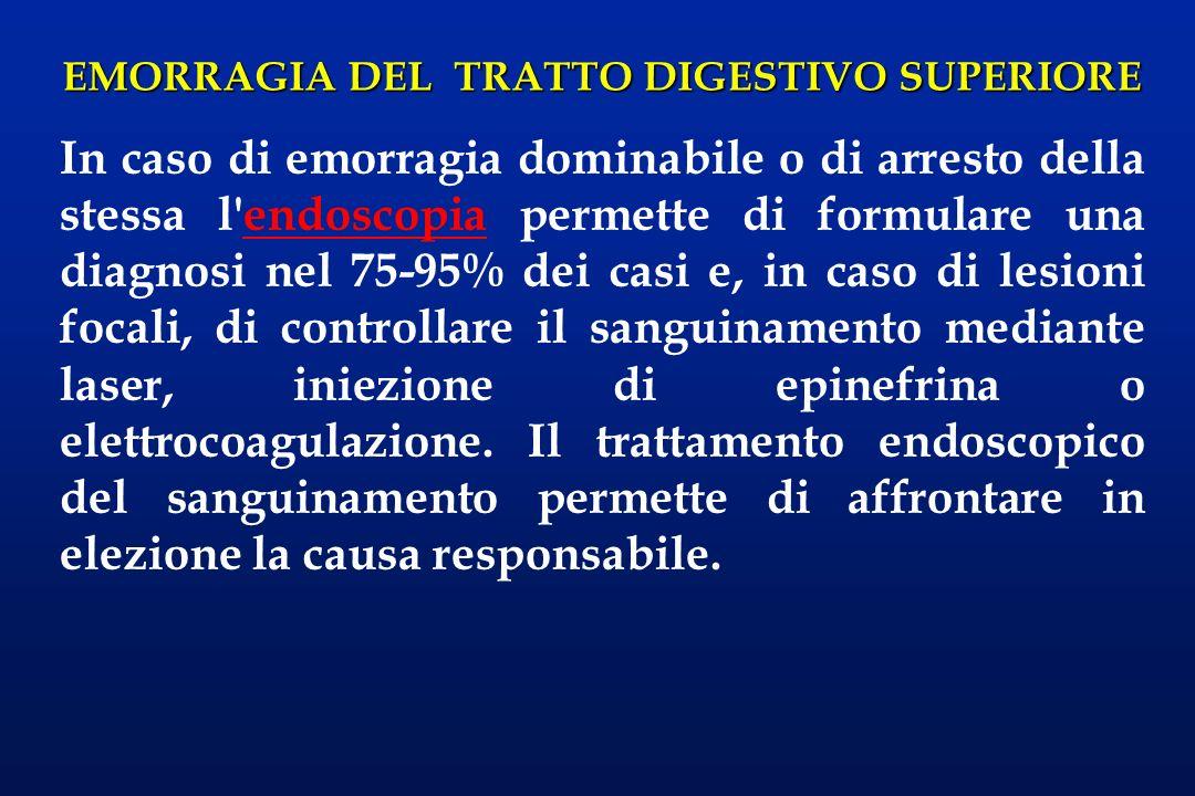 EMORRAGIA DEL TRATTO DIGESTIVO SUPERIORE In caso di emorragia dominabile o di arresto della stessa l'endoscopia permette di formulare una diagnosi nel