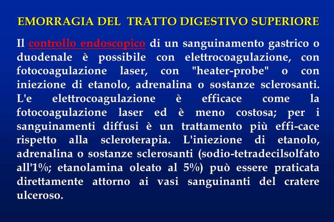 EMORRAGIA DEL TRATTO DIGESTIVO SUPERIORE Il controllo endoscopico di un sanguinamento gastrico o duodenale è possibile con elettrocoagulazione, con fo