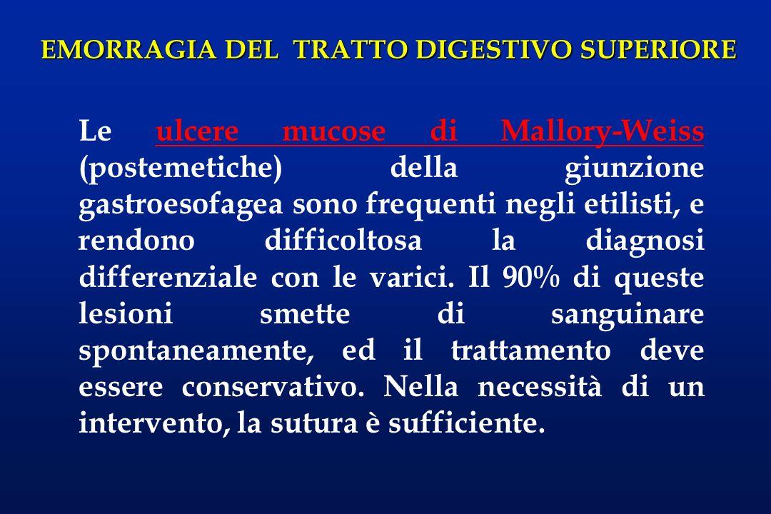 EMORRAGIA DEL TRATTO DIGESTIVO SUPERIORE Le ulcere mucose di Mallory-Weiss (postemetiche) della giunzione gastroesofagea sono frequenti negli etilisti