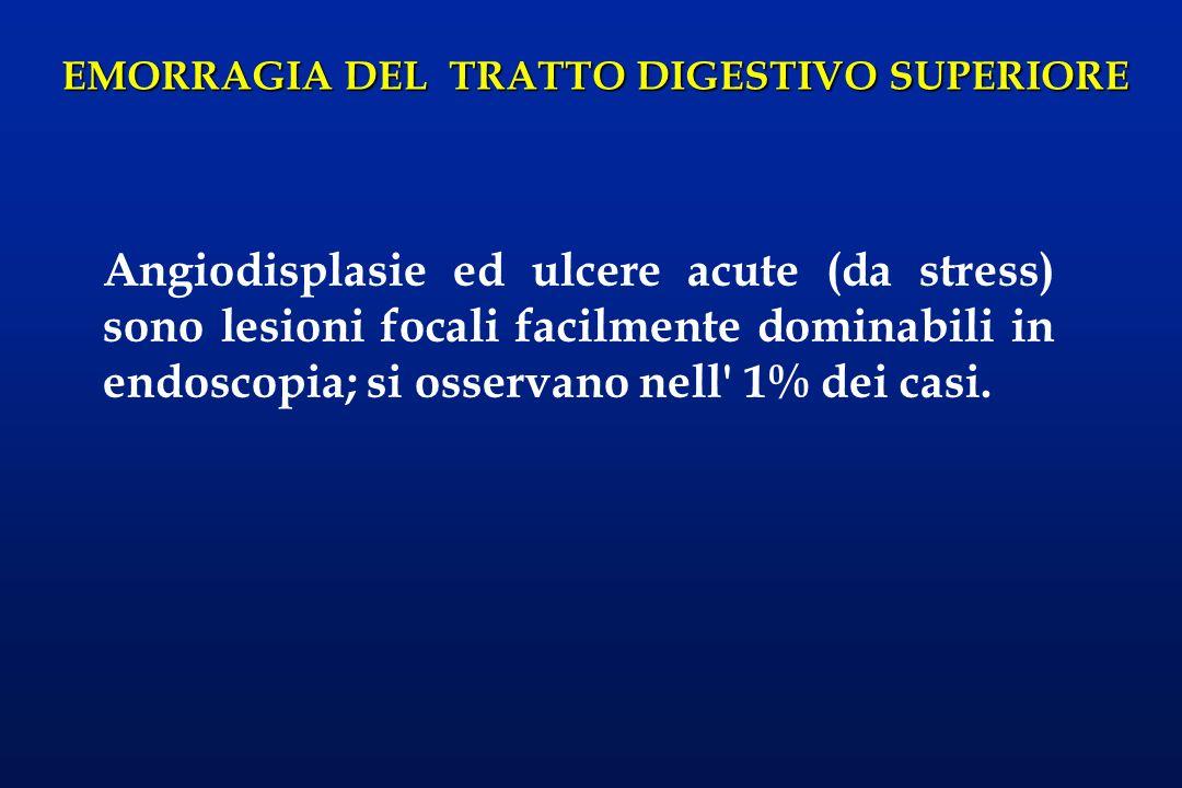 EMORRAGIA DEL TRATTO DIGESTIVO SUPERIORE Angiodisplasie ed ulcere acute (da stress) sono lesioni focali facilmente dominabili in endoscopia; si osserv