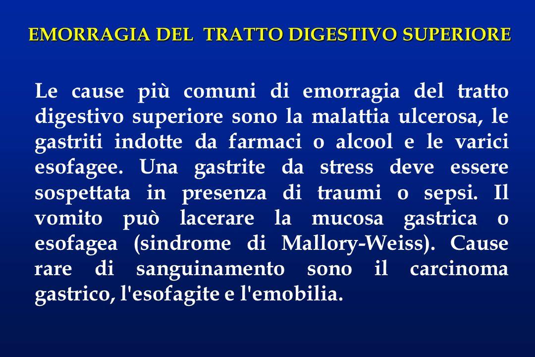 EMORRAGIA DEL TRATTO DIGESTIVO SUPERIORE Le cause più comuni di emorragia del tratto digestivo superiore sono la malattia ulcerosa, le gastriti indott