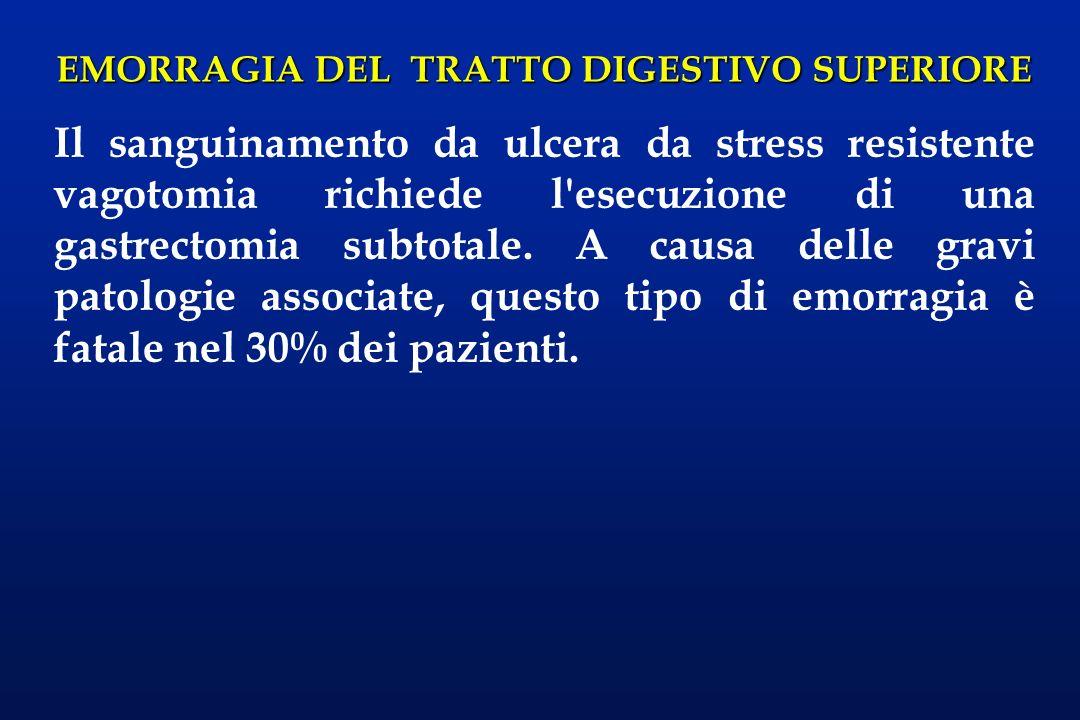 EMORRAGIA DEL TRATTO DIGESTIVO SUPERIORE Il sanguinamento da ulcera da stress resistente vagotomia richiede l'esecuzione di una gastrectomia subtotale