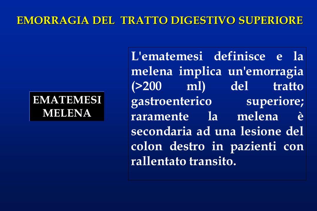 EMORRAGIA DEL TRATTO DIGESTIVO SUPERIORE L'ematemesi definisce e la melena implica un'emorragia (>200 ml) del tratto gastroenterico superiore; raramen