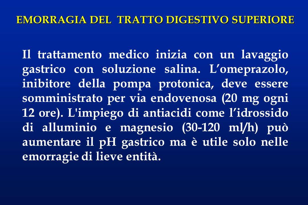 EMORRAGIA DEL TRATTO DIGESTIVO SUPERIORE Le ulcere mucose di Mallory-Weiss (postemetiche) della giunzione gastroesofagea sono frequenti negli etilisti, e rendono difficoltosa la diagnosi differenziale con le varici.