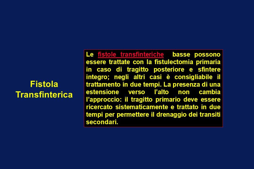 Fistola Transfinterica Le fistole transfinteriche basse possono essere trattate con la fistulectomia primaria in caso di tragitto posteriore e sfinter