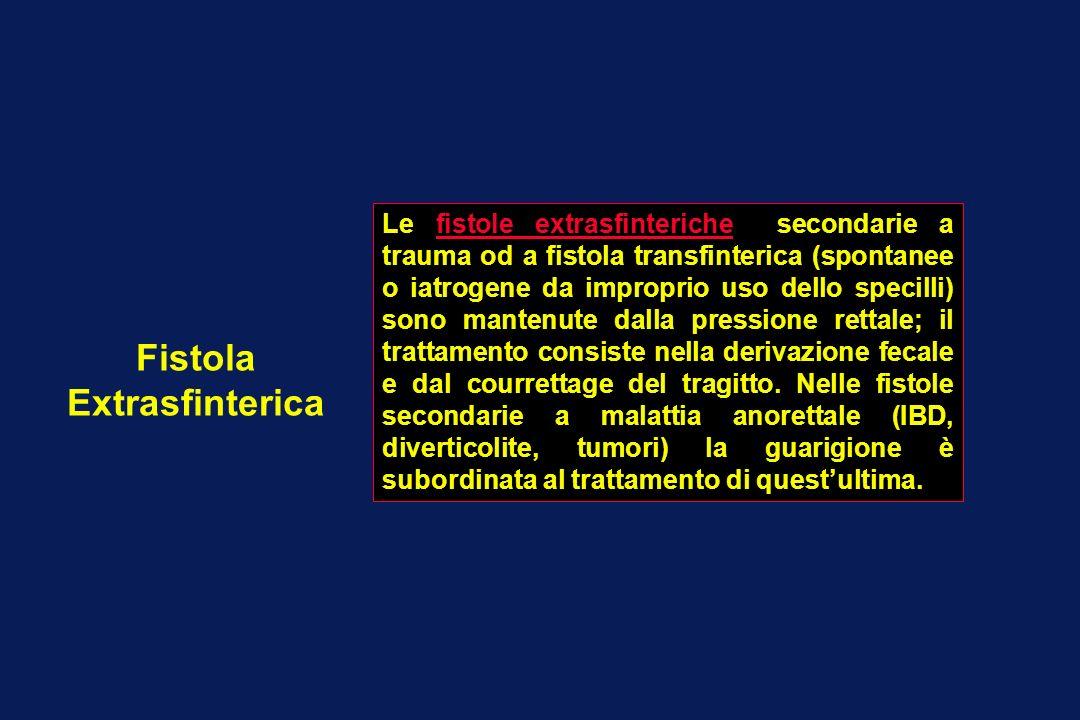 Fistola Extrasfinterica Le fistole extrasfinteriche secondarie a trauma od a fistola transfinterica (spontanee o iatrogene da improprio uso dello spec