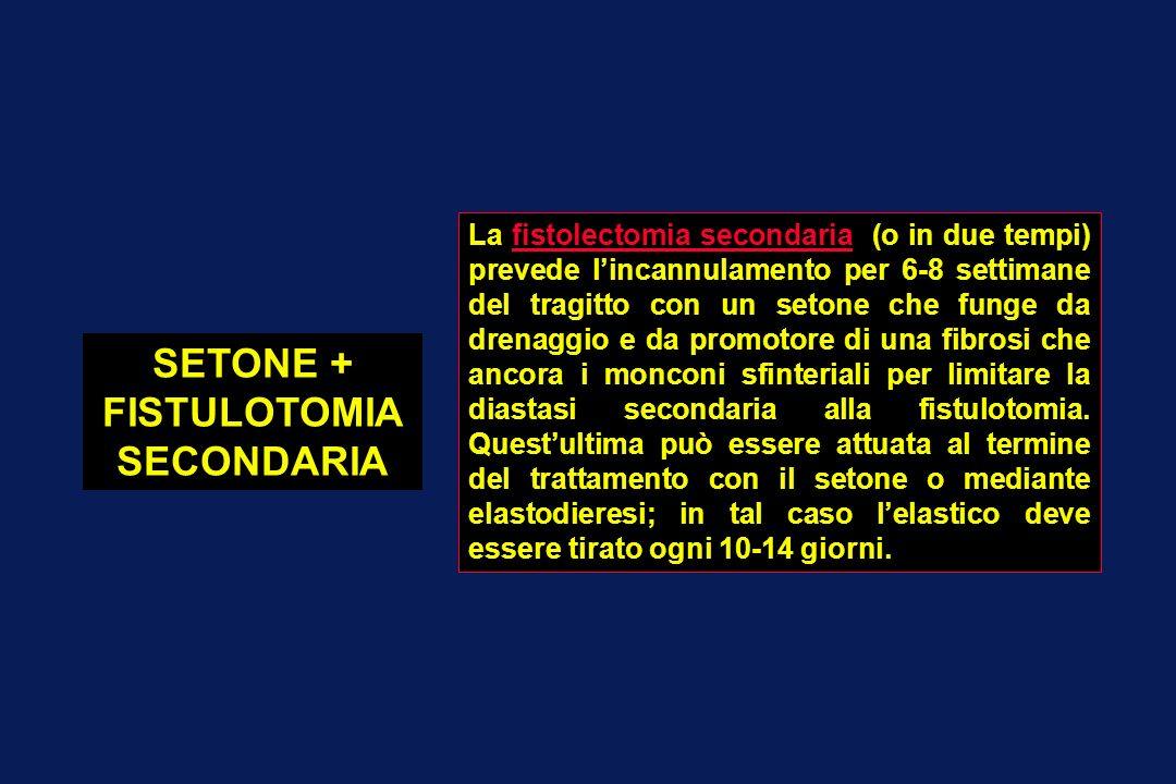 SETONE + FISTULOTOMIA SECONDARIA La fistolectomia secondaria (o in due tempi) prevede lincannulamento per 6-8 settimane del tragitto con un setone che