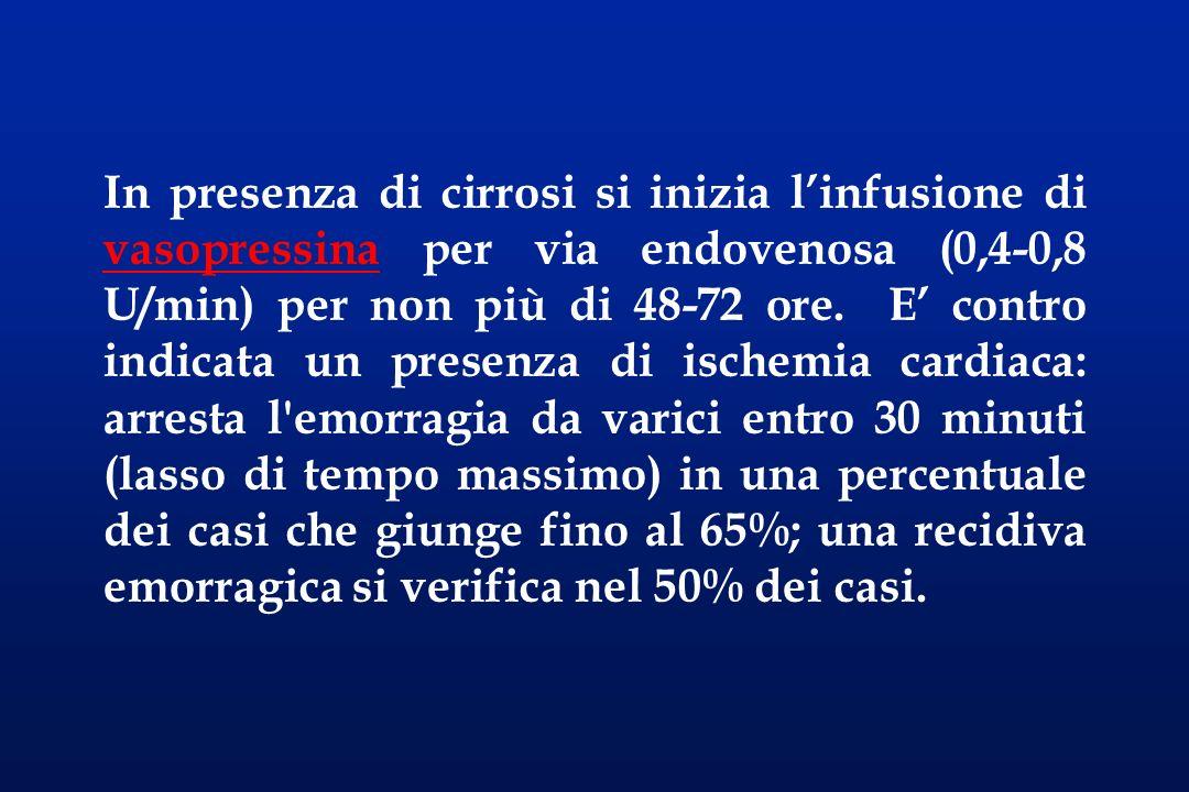 In presenza di cirrosi si inizia linfusione di vasopressina per via endovenosa (0,4-0,8 U/min) per non più di 48-72 ore. E contro indicata un presenza