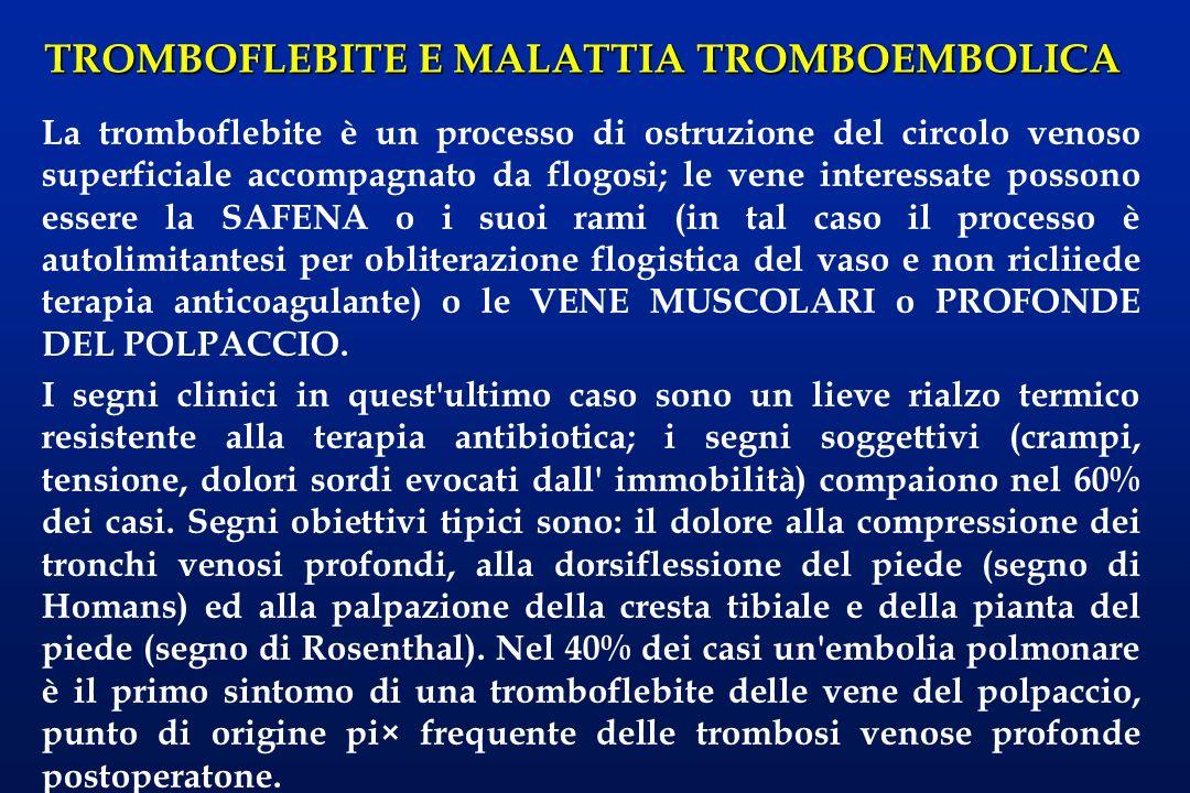 TROMBOFLEBITE E MALATTIA TROMBOEMBOLICA La tromboflebite è un processo di ostruzione del circolo venoso superficiale accompagnato da flogosi; le vene