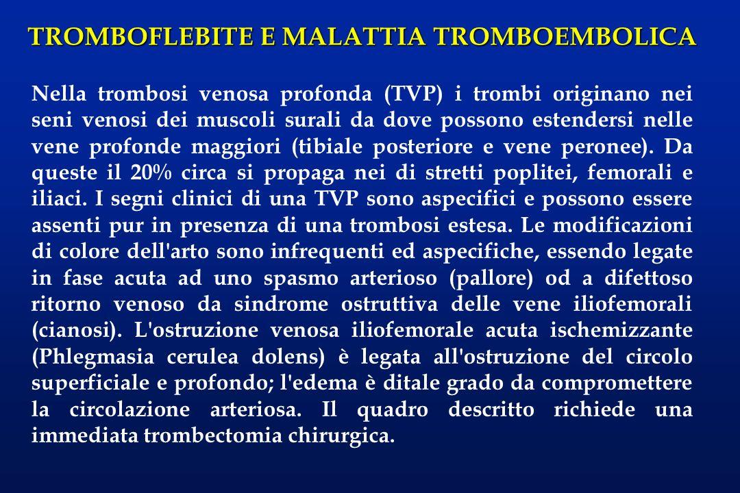 TROMBOFLEBITE E MALATTIA TROMBOEMBOLICA La pletismografia (nelle sue varianti ad impedenza per la diagnosi di trombosi acute e fleboreografica per le ostruzioni prossimali al ginocchio), la velocimetria doppler e l eco(color)doppler consentono di rilevare la presenza di trombi dell albero venoso al di sopra del ginocchio; il valore predittivo negativo può raggiungere il 100%, mentre quello positivo non raggiunge il 60%.