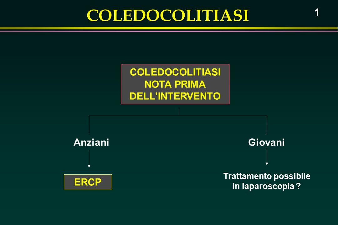 COLEDOCOLITIASI 1 COLEDOCOLITIASI NOTA PRIMA DELLINTERVENTO AnzianiGiovani ERCP Trattamento possibile in laparoscopia ?