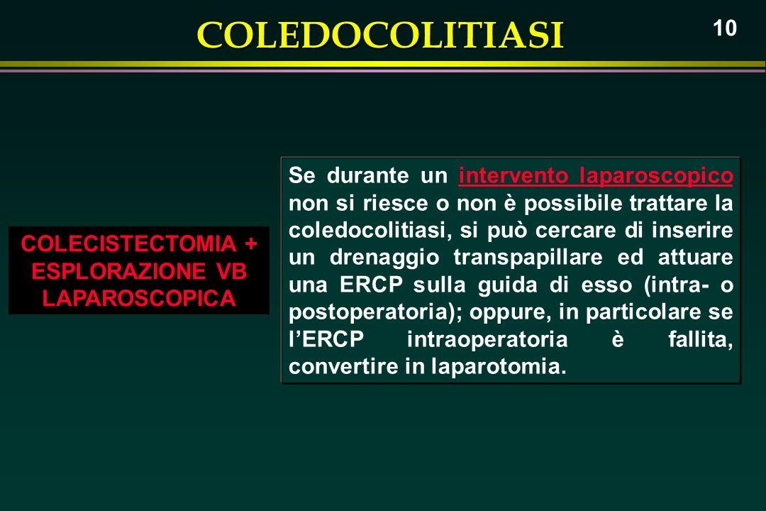 COLEDOCOLITIASI 10 COLECISTECTOMIA + ESPLORAZIONE VB LAPAROSCOPICA Se durante un intervento laparoscopico non si riesce o non è possibile trattare la