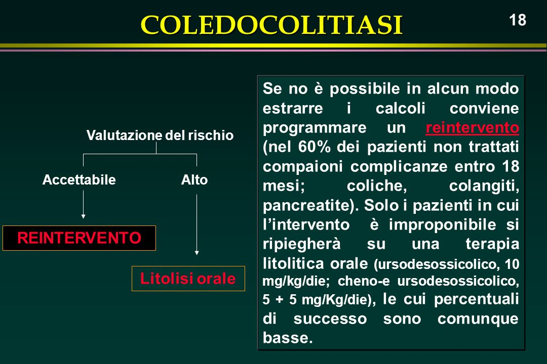 COLEDOCOLITIASI 18 Accettabile Valutazione del rischio Alto Litolisi orale REINTERVENTO Se no è possibile in alcun modo estrarre i calcoli conviene pr