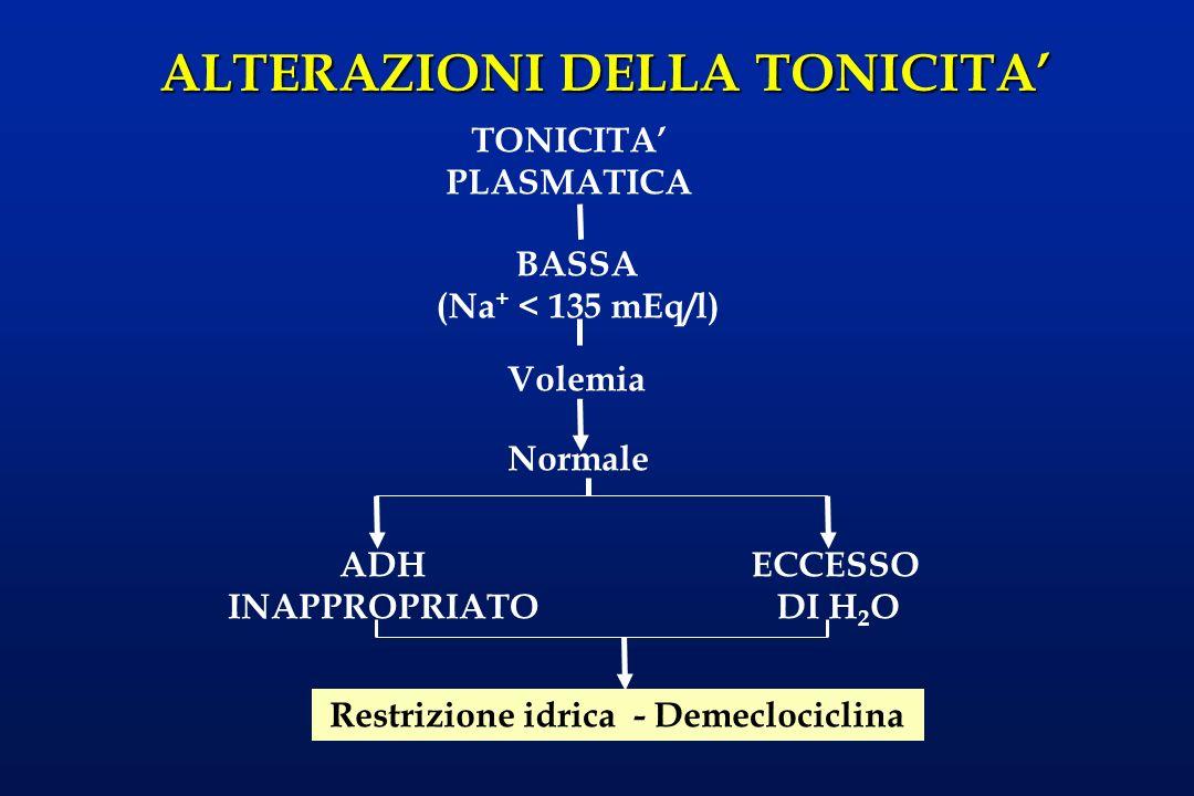 ALTERAZIONI DELLA TONICITA BASSA (Na + < 135 mEq/l) TONICITA PLASMATICA Volemia AumentataNormale Ridotta