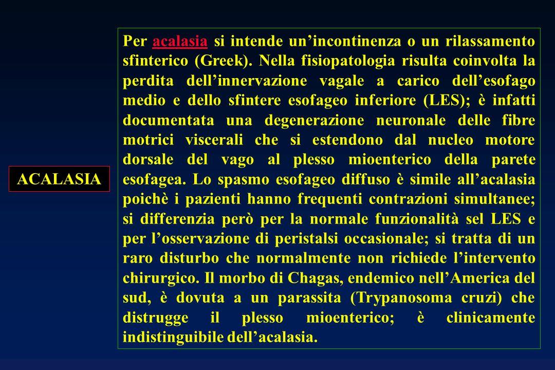 ACALASIA Per acalasia si intende unincontinenza o un rilassamento sfinterico (Greek). Nella fisiopatologia risulta coinvolta la perdita dellinnervazio