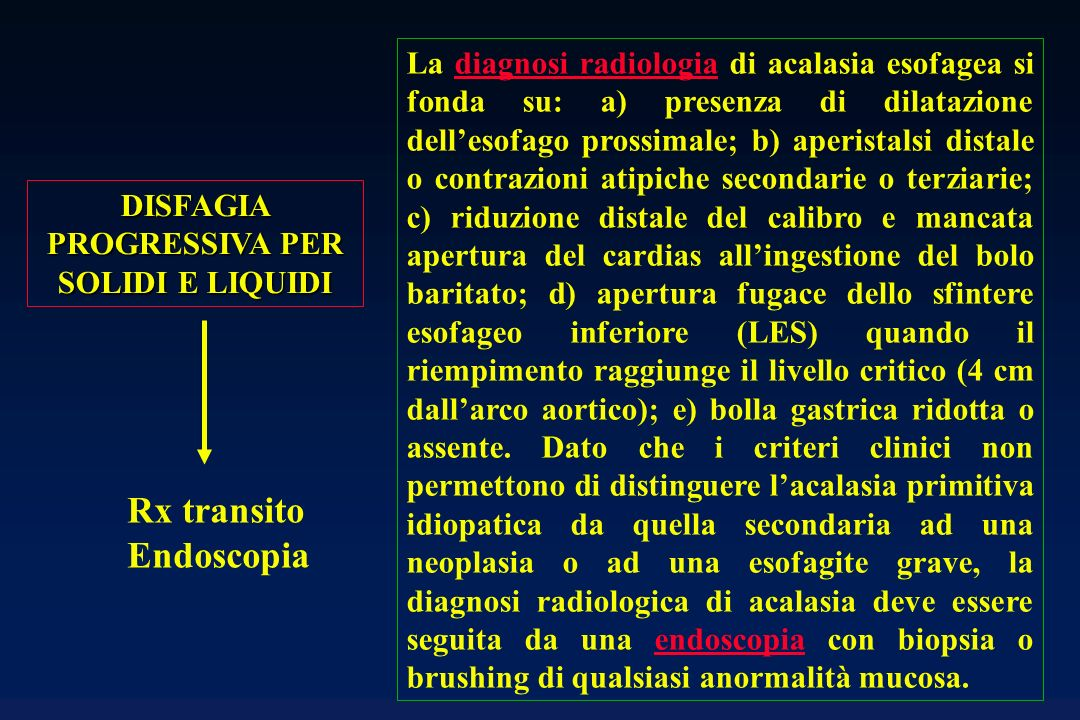 Rx transito Endoscopia DISFAGIA PROGRESSIVA PER SOLIDI E LIQUIDI La diagnosi radiologia di acalasia esofagea si fonda su: a) presenza di dilatazione d