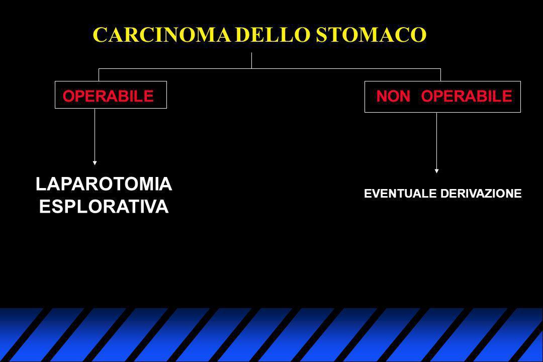 CARCINOMA DELLO STOMACO OPERABILENON OPERABILE LAPAROTOMIA ESPLORATIVA EVENTUALE DERIVAZIONE