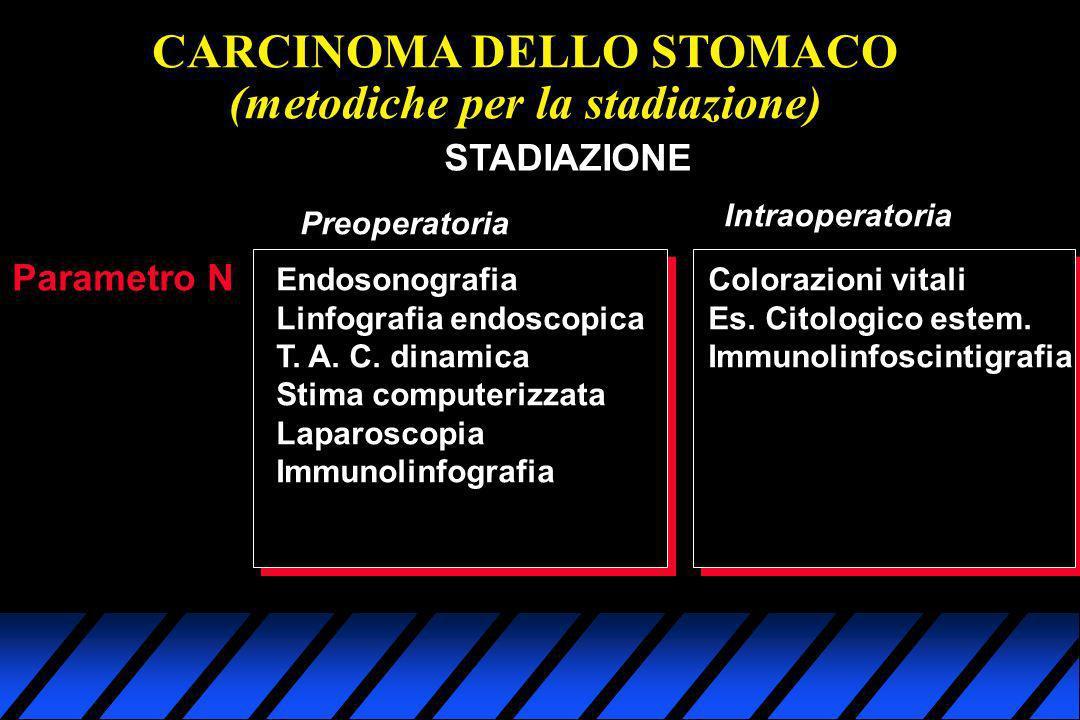 CARCINOMA DELLO STOMACO (metodiche per la stadiazione) Parametro N STADIAZIONE Preoperatoria Intraoperatoria Endosonografia Linfografia endoscopica T.