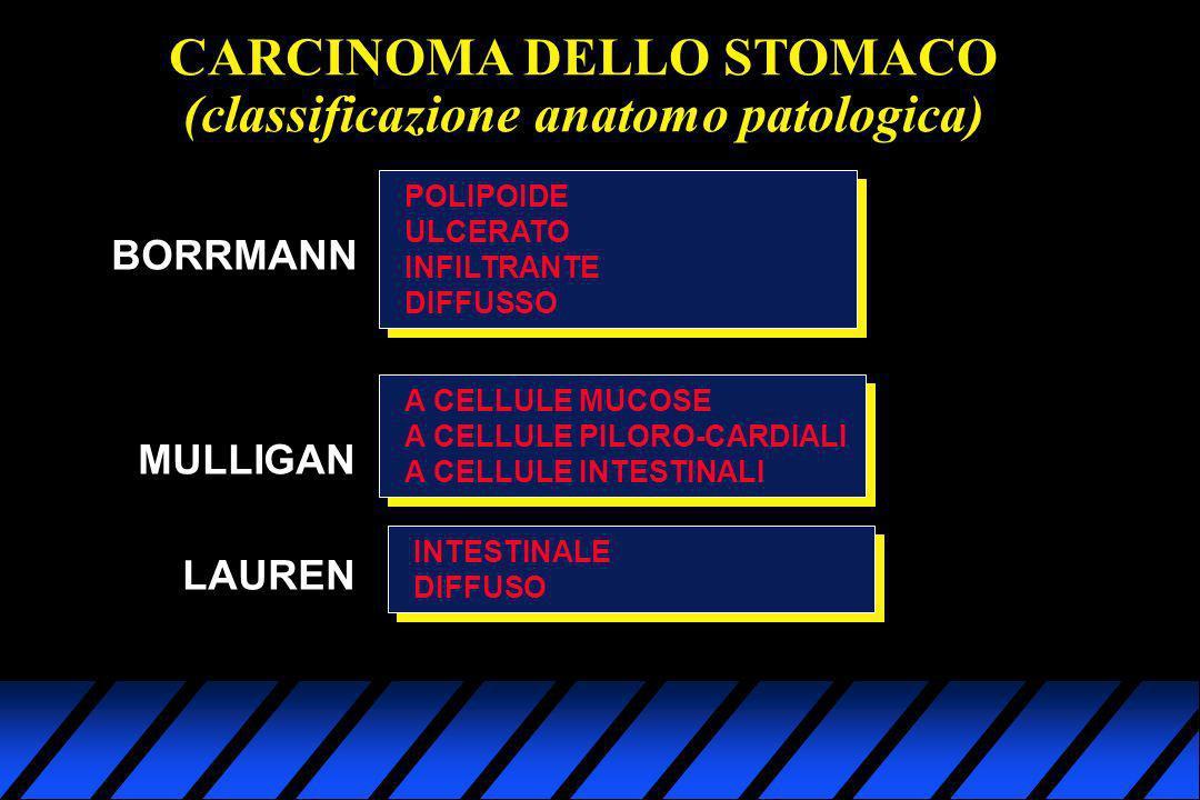 CARCINOMA DELLO STOMACO (classificazione anatomo patologica) BORRMANN POLIPOIDE ULCERATO INFILTRANTE DIFFUSSO MULLIGAN A CELLULE MUCOSE A CELLULE PILO